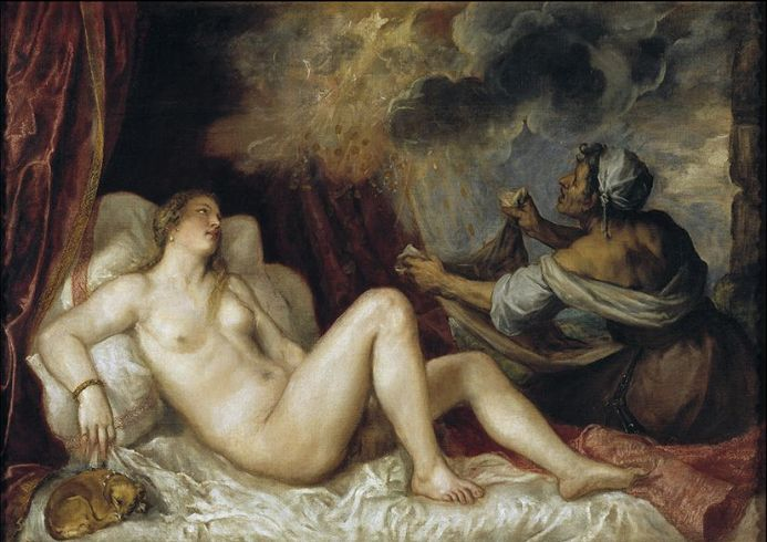 Titian (Tiziano Vecellio): Danae Receiving the Golden Rain. Mythology Fine Art Print.  (001943)